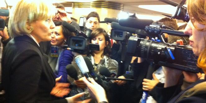Nadine Morano, un des ténors de la majorité assaillis par les journalistes lors du débat sur la laïcité organisé par l'UMP.
