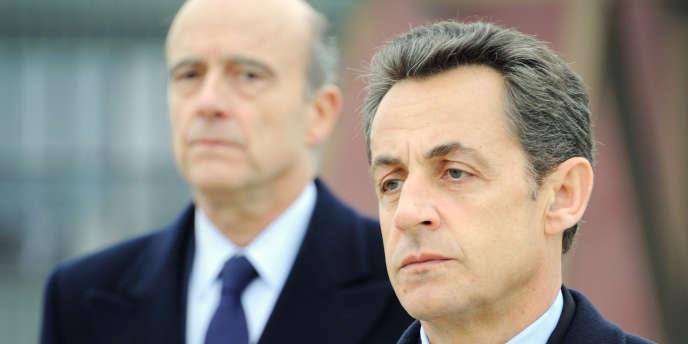 Nicolas Sarkozy, et Alain Juppé, à Saint-Dizier (Haute-Marne), le 4 janvier 2011.