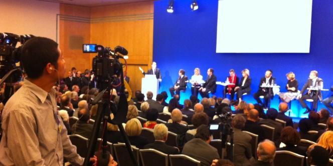 Jean-François Copé s'exprime lors du débat sur la laïcité organisé par l'UMP le 5 avril.