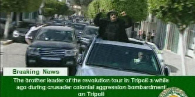 Les images diffusées jeudi par la télévision libyenne qui affirme qu'elles ont été tournées lors des bombardements de l'après-midi.