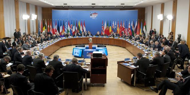 Réunion des ministres des affaires étrangères de l'OTAN à Berlin, jeudi 14 avril.