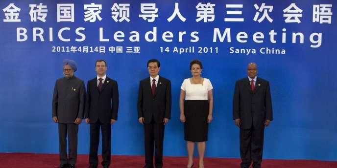 Les dirigeants indien, russe, chinois, brésilien et sud-africain lors du sommet des Brics, le 14 avril 2011 à Sanya, en Chine.