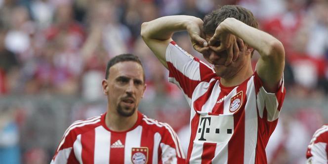 Franck Ribéry et Thomas Mueller, joueurs du Bayern Munich, le 17 avril.