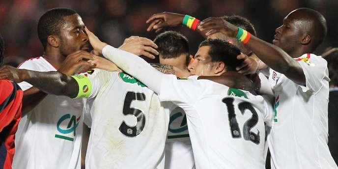 La joie des joueurs lillois à la fin du match, mardi soir, à Nice.