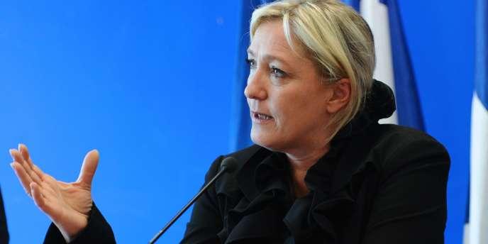 Marine Le Pen, le 13 avril 2011, au siège du FN, à Nanterre.