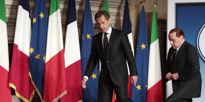 Nicolas Sarkozy et Silvio Berlusconi, le 26 avril, lors du sommet franco-italien de Rome.