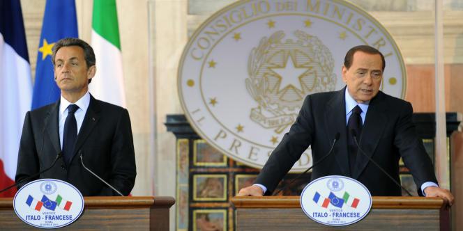 Nicolas Sarkozy et Silvio Berlusconi à Rome le 26 avril .