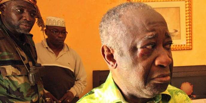 Laurent Gbagbo, le 11 avril 2011, le jour de sa capture, à son arrivée à l'hôtel du Golf.