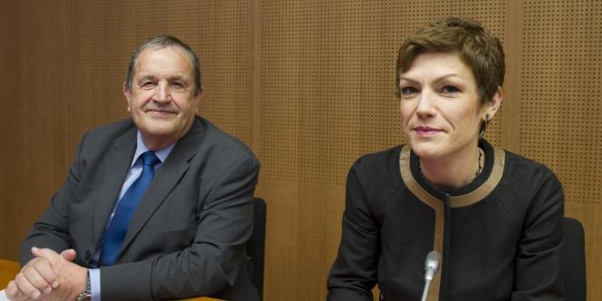 Fernand Duchaussoy, président de la FFF, et Chantal Jouanno, ministre des sports, le 21 avril à Paris.