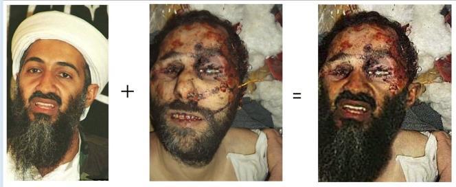 Le photomontage réalisé à partir du bas du visage sur la première image, et du haut de la seconde.