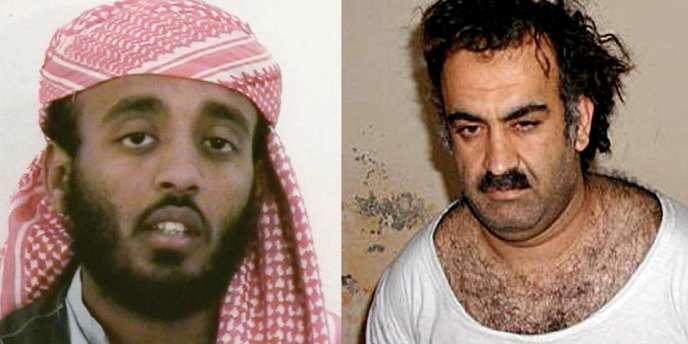 Ramzi Ben Al-Shibh avant son arrestation en septembre 2002 et Khaled Cheikh Mohammed lors de son arrestation en 2003.