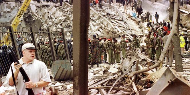 Les secours devant l'ambassade des Etats-Unis à Nairobi, le 7 août 1998.