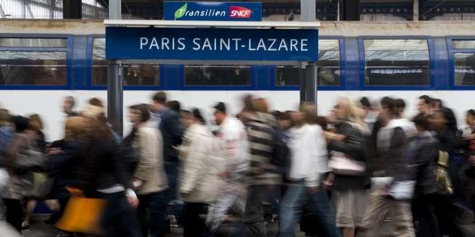 Un quai de la gare Saint-Lazare, à Paris.