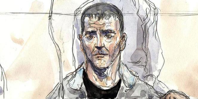 Croquis d'audience d'Yvan Colonna, lors de son procès en appel à Paris, le2 mai2011.