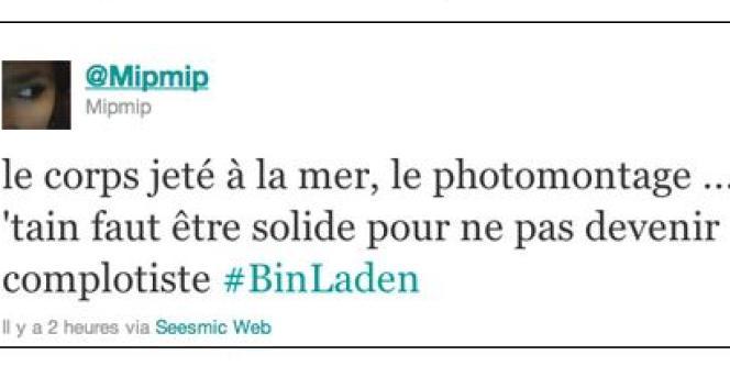Ce tweet témoigne des questions soulevées par la mort de Ben Laden, y compris chez les observateurs les plus rationnels.