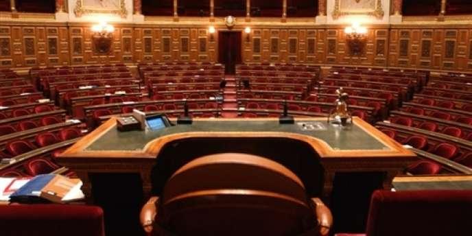 Vue du fauteuil du président du Sénat, à Paris.