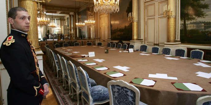 Le salon Murat, où se déroule le conseil des ministres, au palais de l'Elysée, à Paris.