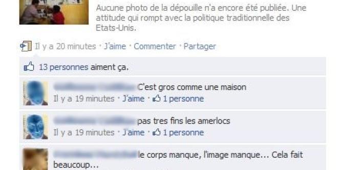 Capture d'écran de la page Facebook du Monde.fr jeudi matin.