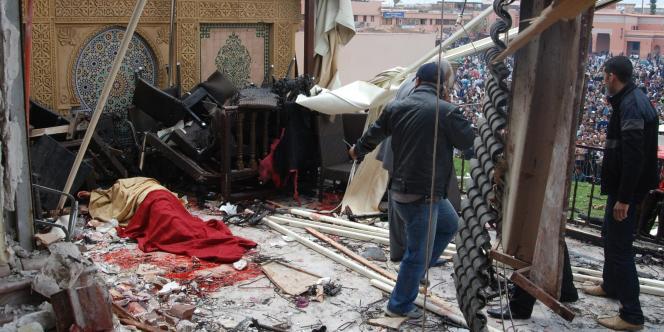 La terrasse du café Argana visé par un attentat à Marrakech, jeudi 28 avril.