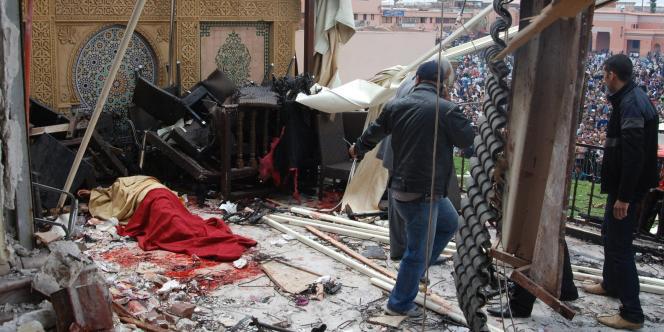 La terrasse du café Argana visé par un attentat à Marrakech, jeudi 28 avril 2011.
