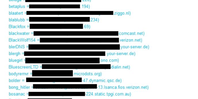 Extrait de la liste des adresses IP publiées par le ou les personnes qui ont détourné un canal de discussion utilisé par Anonymous.