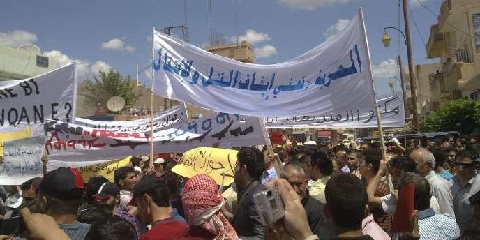 Une photo prise par un manifestant, vendredi 13 mai, lors d'une manifestation à Kamichli.