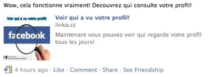 Un exemple de pourriel Facebook.