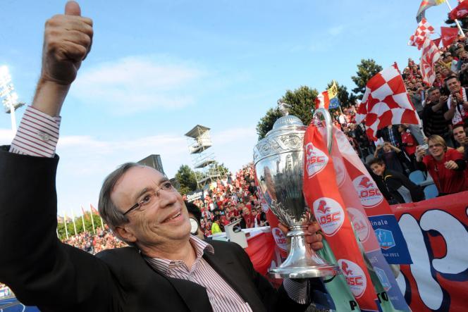 Michel Seydoux, président du club de Lille, le Losc, le 18 mai à Villeneuve-d'Ascq, lors de la présentation de la Coupe de France.