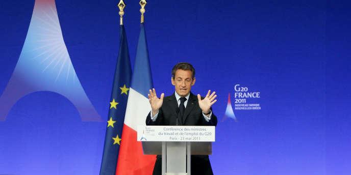 Nicolas Sarkozy, le 23 mai, lors d'une conférence du G20, à Paris.