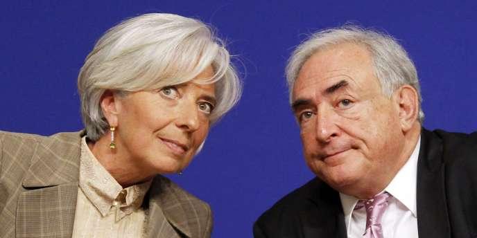 Christine Lagarde et Dominique Strauss-Kahn, à Paris, le 16 juin 2010.