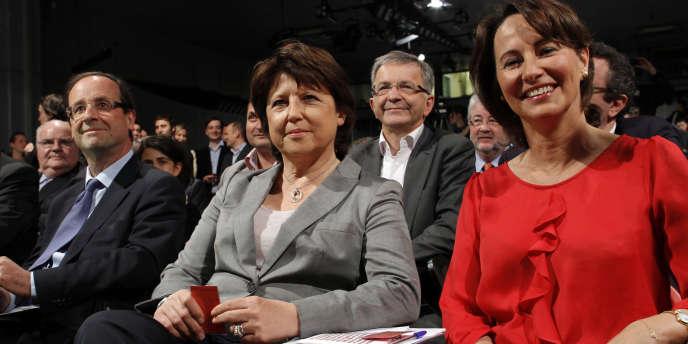 François Hollande, Martine Aubry et Ségolène Royal, le 9 avril 2011.