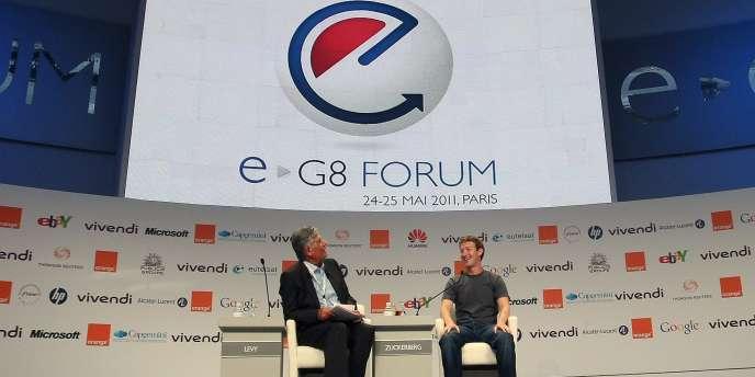 Mark Zuckerberg, PDG de Facebook, et Maurice Lévy, PDG de Publicis, lors de la