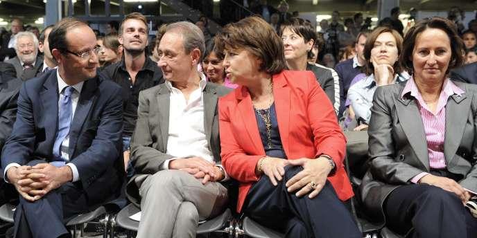 De gauche à droite : Francois Hollande, Bertrand Delanoë, Martine Aubry et Ségolène Royal.