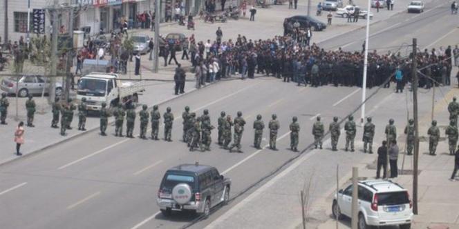 Manifestation à Xilinhot en Mongolie intérieure, le 23 mai 2011.