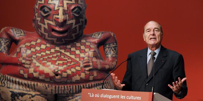 Jacques Chirac lors de l'inauguration du Musée du quai Branly, consacré aux arts premiers, à Paris, le 20 juin 2006.