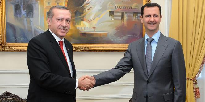Le premier ministre turc, Recep Tayyip Erdogan, et le dirigeant syrien, Bachar Al-Assad, le 6 février 2011.