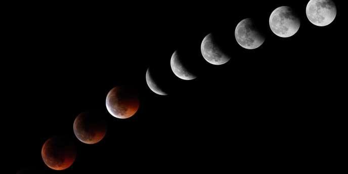 Série de dix photos de l'éclipse de la Lune prises depuis l'île espagnole de Ténérife.
