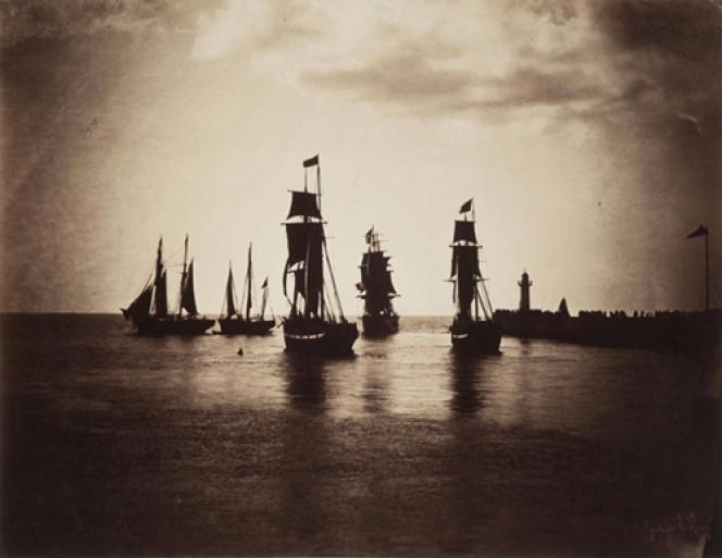 Bateaux quittant le port du Havre, 1856 ou 1857