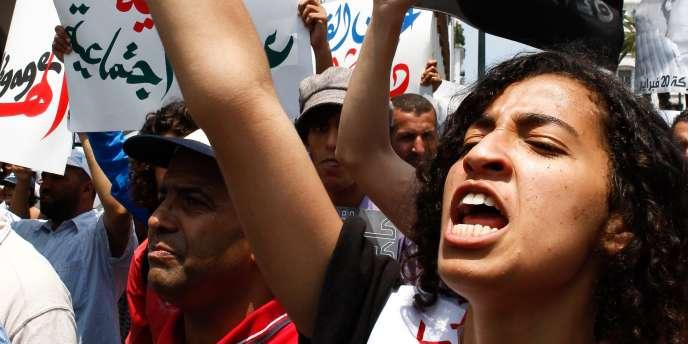 Manifestation organisée par le Mouvement du 20 février, à Rabat, le 5 juin.
