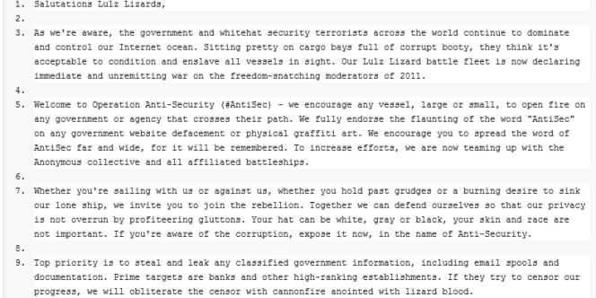 Le message publié par le groupe LulzSec, lundi 20 juin.