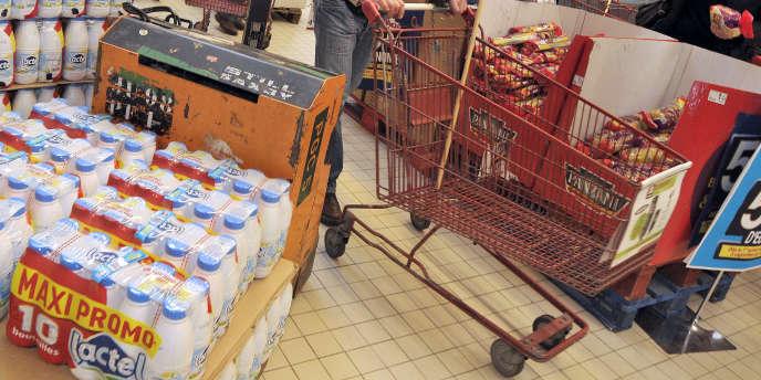 Dans un supermarché de Cherbourg (Manche).