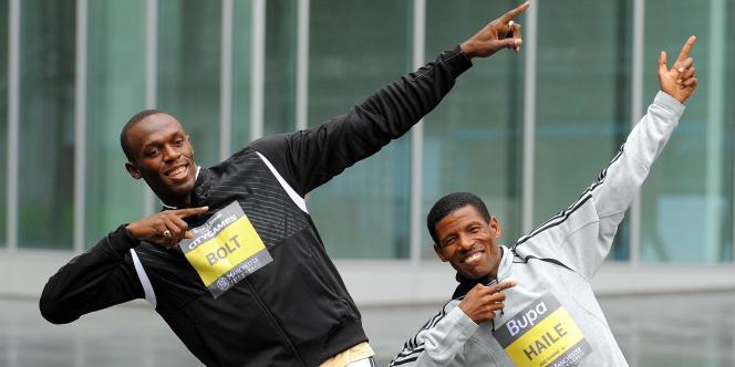 Usain Bolt et Haile Gebreselassie en 2009.