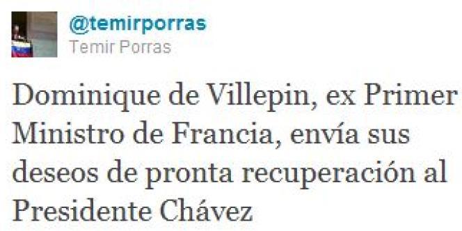 Tweet de Temir Porras.