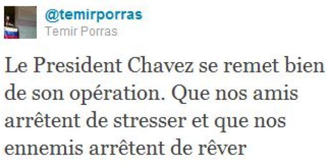 Tweet du ministre vénézuélien des affaires étrangères.