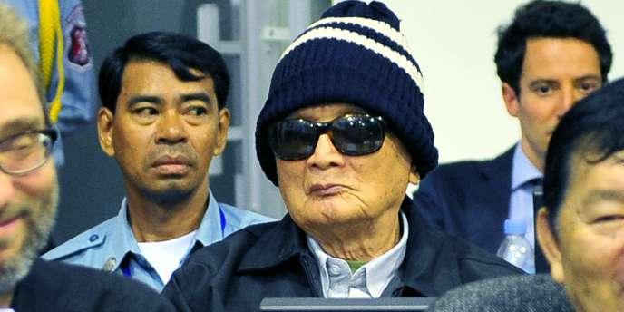 Nuon Chea à l'ouverture de son procès, le 27 juin 2011.