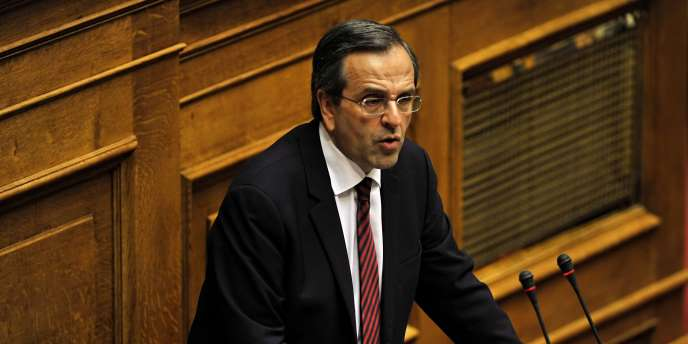 Antonis Samaras au Parlement grec.