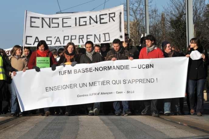 Lors d'une manifestation contre la réforme de la formation des enseignants, le 15 décembre 2009 à Caen.