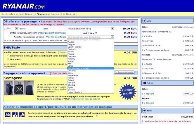 Sur le formulaire de réservation en ligne de Ryanair, il faut chercher la mention