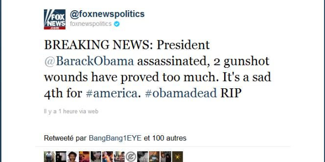 Le compte Twitter de Fox News consacré à la politique a été piraté, ce 4 juillet.