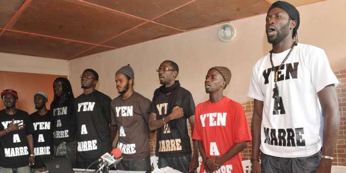 Les leaders du mouvement Y'en a marre, le 27 juin à Dakar.
